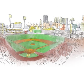 Pittsburgh PNC Park Ink and Watercolor Drawing