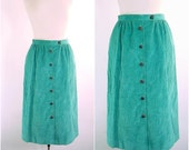80s Vintage Teal Coduroy Skirt L L Bean Midi Skirt - Leather Buttons - 29 inch waist