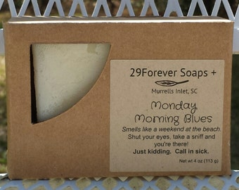 Monday Morning Blues Soap - Beachy Coppertone Type Scent - Vegan Soap - coworker gift - men's soap - Coppertone type soap- Beach soap