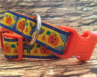 Halloween Dog Collar - Pumpkins and Cats In M - L - XL Side Release Buckle Style