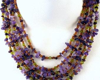 Monet Amethyst Chip Necklace