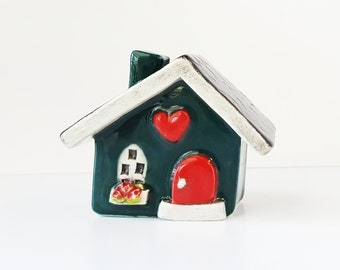 Little Clay House | Ceramic House | Miniature House | Whimsical house | Teal Green House | Fairy House Hearthome | Tiny House