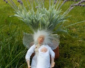 ooak fairy elf pixie trol love gift nature woodland spirit baby doll poseable white wings