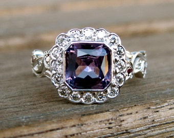 Burmese Lavender Spinel Engagement Ring in 14K White Gold with Purple & White Diamonds in Vine Setting Size 6