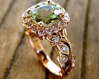 Mint Green Chrysoberyl Engagement Ring in 14K Rose Gold with Diamonds in Flower Buds and Leafs on Vine Size 7