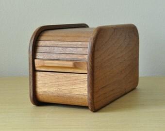 teak tambour storage box
