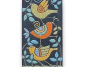 RESERVED for THEA ....Birds ,Ceramic tile,Whimsical,turquoise,yellow, handmade, wall art, home decor 4x8 raku fired art tile