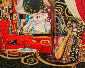 Print, Fine Art Print, Klimt print, Gustav Klimt, Klimt, Music print, Wall art.  Original art, Melodies of Klimt
