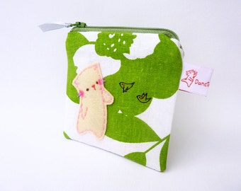 Linen coin purse, Handmade Linen pouch, Cat coin purse, Coin purse, Small change purse, Cat purse, Green, Small pouch, Zipper coin purse