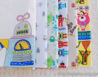 S080 Fabric Scraps Bundle Set - Cartoon Characters Lovely Kids Colourful Geometry Robot Toy Collection (6PCS, 9x9 Inches)