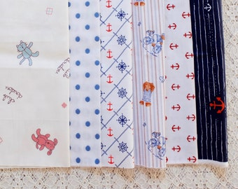 S013 Fabric Scraps Bundle Set - Blue Colorway Nautical Marine Summer Anchor Sailing Teddy Bear Embroidery Flower (6PCS, 9x9 Inches)
