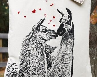 Llama Love Tote Bag, Knitting Bag