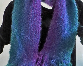 SCARF Handwoven Loop Mohair, Jewel Colors ruby, amethyst, sapphire, and emerald. Blue Predominant. Soft and Warm.