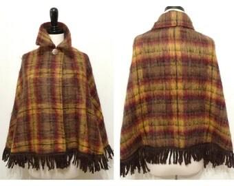 VTG 60s Plaid Poncho Mohair & Wool Scotland Mod Hippy Hippie Multicolor Festival Sweater Jacket Cape Capelet