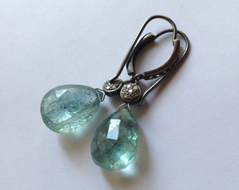 Large Moss Aquamarine Briolette with Diamonds Pave Set in Sterling Silver Earrings