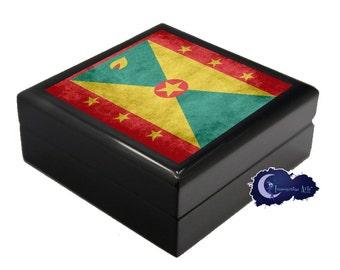 Flag of Grenada - Jewelry and Keepsake Box