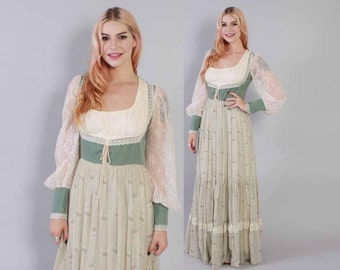 Vintage 70s GUNNE SAX DRESS / 1970s Green & Ivory Floral Boho Full Skirt Corset Bodice Maxi xs - m