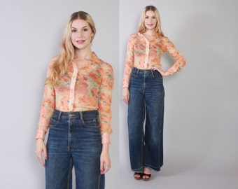 Vintage 70s BELL BOTTOMS / 1970s Dark Wash Denim Extra Wide Elephant Bells High Waist Jeans XS