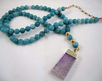 """37"""" long turquoise amazonite layering necklace with purple agate pendant"""