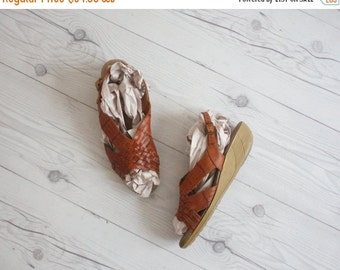 VACATION SALE. woven leather wedges / size 6
