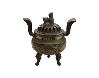 Vintage Brass Asian Foo Dog Lidded Jar Incense Burner / Oriental / Chinese