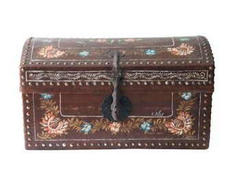 Vintage Hand Painted Gypsy Boho Chic Leather Nailhead Trunk