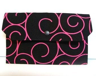Coupon / Cash Budget Clutch Organizer - Black with Pink Swirls