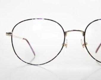 Vintage 1980s Round Eyeglasses Eyeglass Frames Womens Wire Rim Golden Metallic Purple Emerald Green 80s Deadstock New NOS Eighties