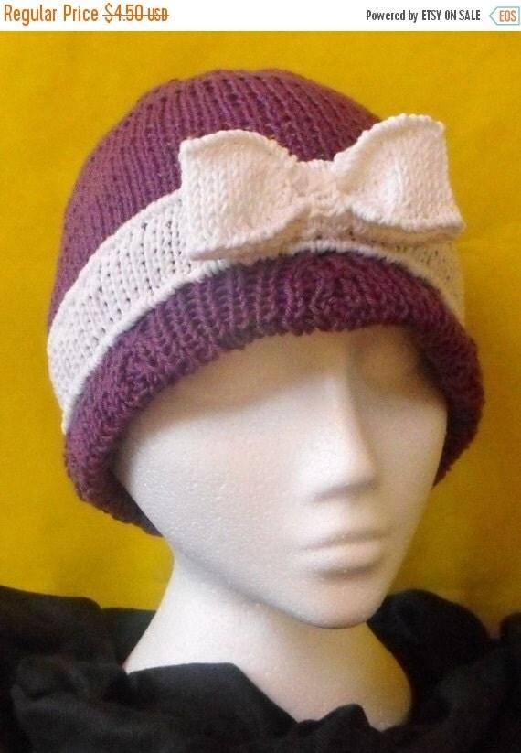 HALF PRICE SALE Instant Digital File pdf download Ribbon Beanie Cloche hat pdf download knitting pattern