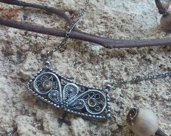 Filigree Israeli silver necklace. Sterling silver jewelry for woman.