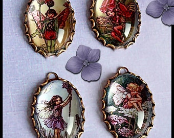 4 pcs Cicely Mary Barker-Handmade VINTAGE Photo FLOWER FAIRIES Charms in 25X18mm Antique Brass or Silver Oval Lace Settings