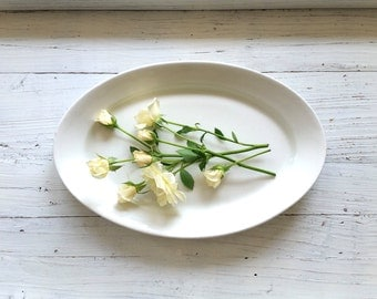 Large White Ironstone Platter . Antique Dresden White Granite . Ironstone China . Serving Plate .