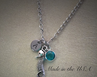 Personalized Swarovski Crystal birthstone seahorse necklace