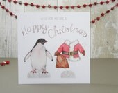 Christmas card penguin paper doll - Father Christmas costume card - Paper doll with Santa costume - Penguin greetings card - Watercolor card