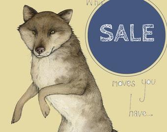 dancing wolf illustration. A4 wolf print