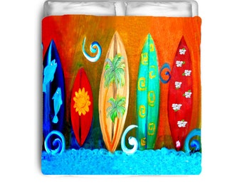 Surfboards bedding comforters and duvet covers from my art