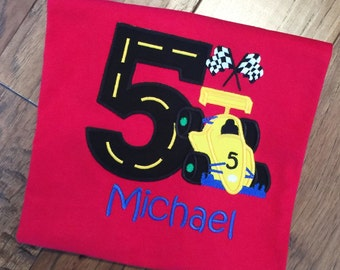 Boys Appliqued Race Car with Age