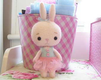 Precious Little Pocket Bunny..Hand dyed wool felt...Pale Pink...Hand Sewn...Darling for Spring and Easter