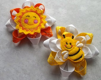 Orange and Yellow Ribbon flowers with fun appliques boutique hair bows for girls and babies
