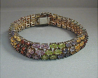 Sterling Bracelet Multi Colored Rhinestone