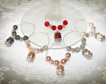 Swarovski Crystal Pearl Wine Charms - Set of Six. Multi-Color Jewel Tone Pearls