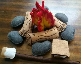 Felt Campfire - photography prop - Felt Bonfire Playset - kids camping - play campfire - felt fire - campfire playset - felt food - pretend