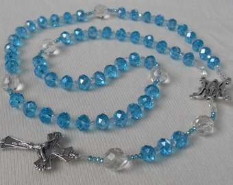 Bride Rosary or Quinceanera Czech Crystal Beads Aqua and Clear Special Middle Medal and Crucifix Silver