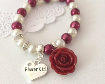 Flower girl, flowergirl, LIMITED seasonal color, burgundy, deep red, wine red, rose, stretchy pearl bracelet. CHILD sized.