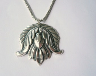 Silver lotus Necklace Large silver necklace Statement necklace Sterling silver necklace chain Large silver necklace Thick silver chain