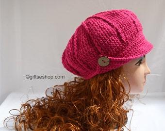 Crochet Newsboy Hat Pattern, Crochet Visor Hat Pattern n 79