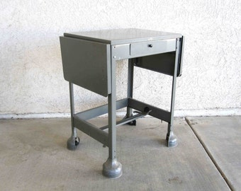 Vintage Aluminum Typing Table in Grey. Machine Age Industrial. Circa 1950's.