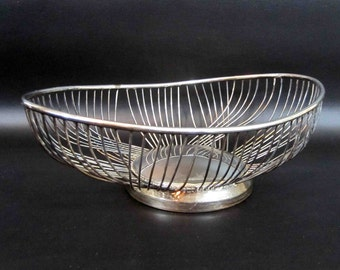 Vintage Silver Plate Mid Century Wire Bowl