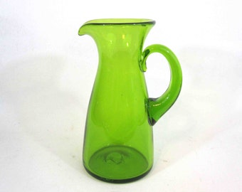 Vintage Green Art Glass Pitcher by Blenko. Circa 1960's.
