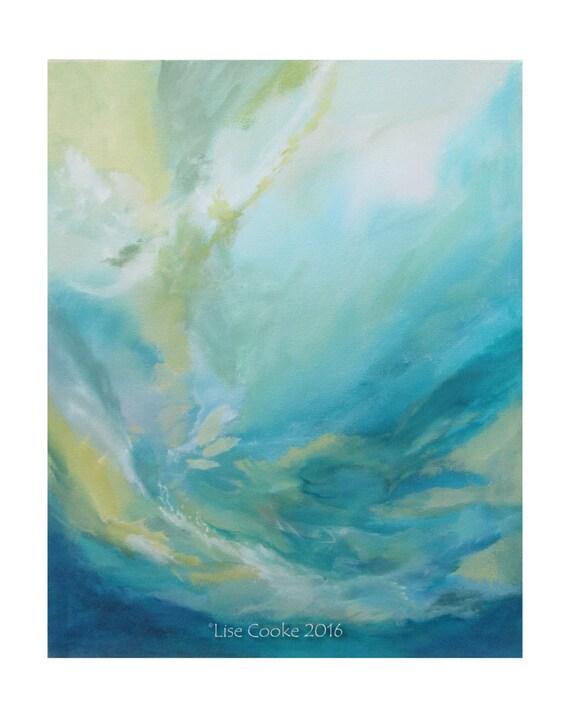 Ebsq de arte expresionismo abstracto pintura moderna original for Pintura azul turquesa